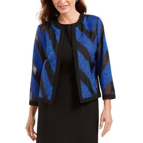 Kasper Womens Organza Jacket Illusion Chevron - Sapphire Multi