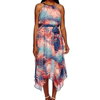 Sangria NEW Pink Blue Women's 6 Printed Asymmetrical Hem Blouson Dress
