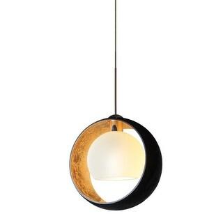 Besa Lighting 1XT-4293GF Pogo 1 Light Mini Pendant with Black and Inner Gold Glass Shade