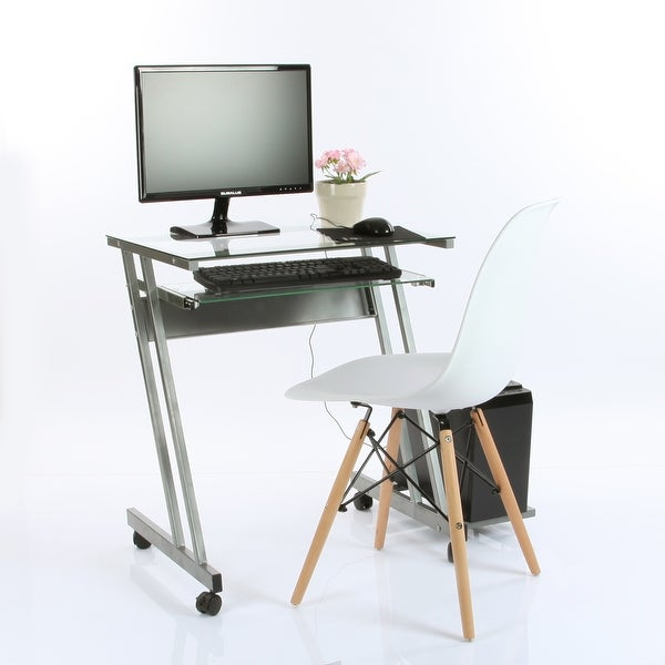 VECELO Glass Computer Workstation Desk with Keyboard Tray,Office Computer Desk