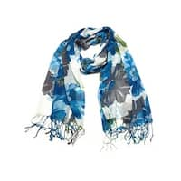Women's Fashion Floral Soft Wraps Scarves - F2 Blue