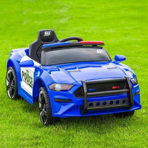 12V Kids Ride On Car Police Sports Car 2.4GHZ Remote Control LED Lights