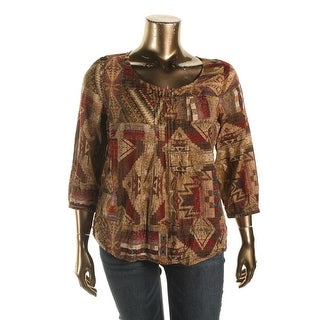 LRL Lauren Jeans Co. Womens Casual Top Printed Button-Up - xL