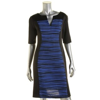 Connected Apparel Womens Petites Textured Colorblock Party Dress