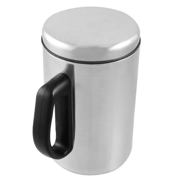 Unique Bargains Home Drink Container 500ml Tea Cup w Black Plastic Handle