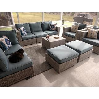 Corvus Martinka 11-piece Grey Wicker Outdoor Sectional Sofa Set with Blue Cushions