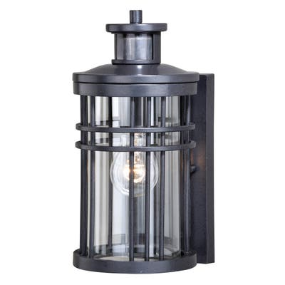 Wrightwood Black Motion Sensor Dusk to Dawn Outdoor Wall Light - 6-in W x 12-in H x 7.25-in D