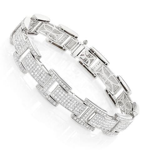 Sterling Silver 4ct TDW Mens Diamond Bracelet
