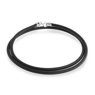 Bling Jewelry Black Rubber Cord Necklace with Silver Plated Clasp