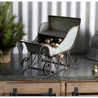 Pack of 2 Metal Gray and Rusty Brown Decorative Christmas Sleigh