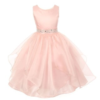 Girls Blush Dazzling Stones Taffeta Organza Cascade Party Dress 8-14