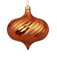 4 ct. Shiny Burnt Orange Swirl Shatterproof Onion Christmas
