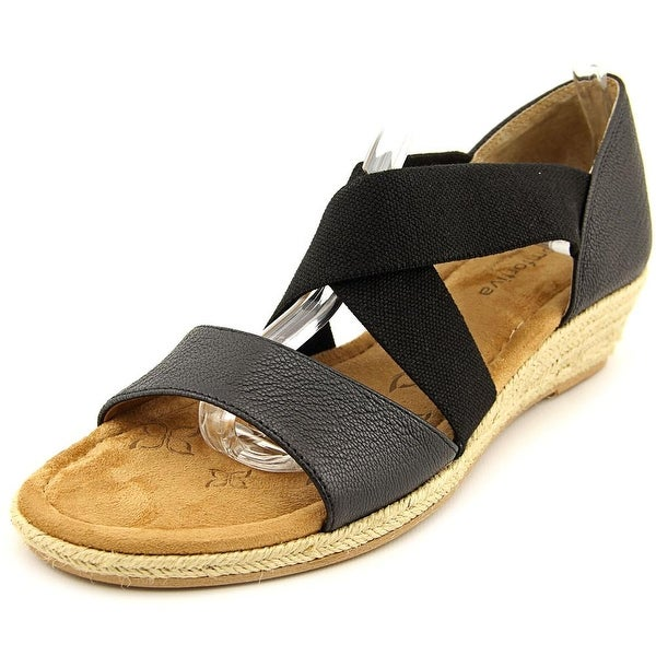 Comfortiva Brye Women Open Toe Leather Black Wedge Sandal