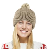 Chunky Cable Knit Beanie Hat With  Pom Pom - Winter Soft Stretch Cap Hat - Taupe