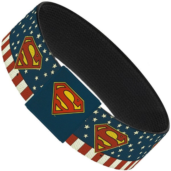 Superman Shield Americana Red White Blue Yellow Elastic Bracelet