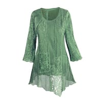 Women's Tunic Top - Lacey Layers Asymmetrical Cotton Blouse
