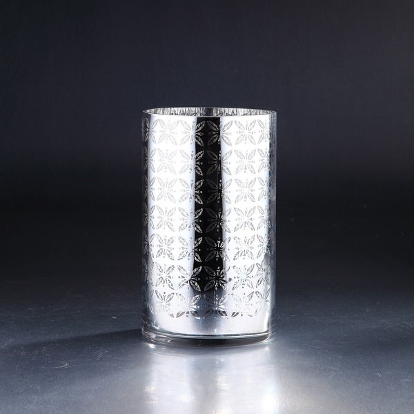 "10"" Metallic Silver Cylinder Hurricane Glass Vase Candle Holder - N/A"