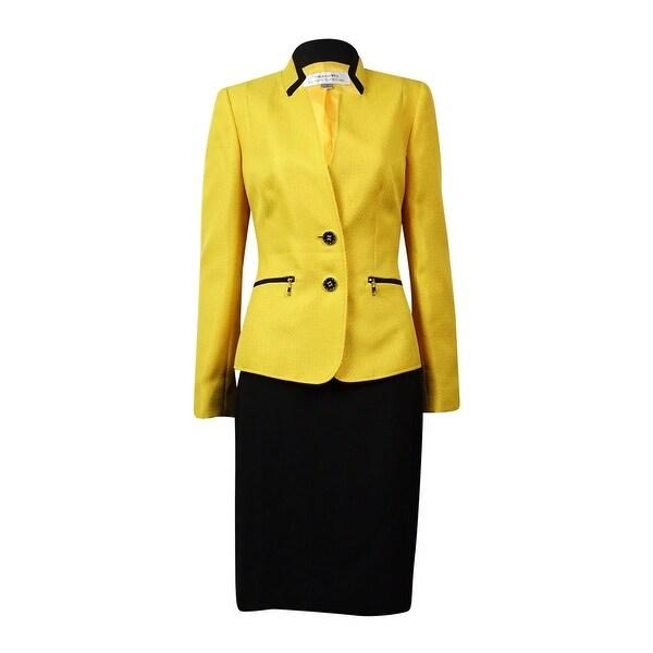 Tahari Women's Montreal Muse Zip-Pocket Woven Skirt Suit - marigold/black
