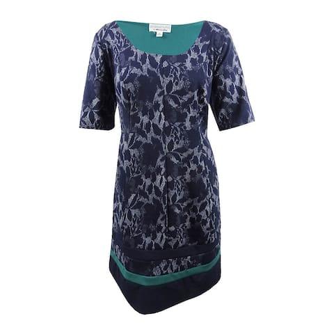 Robbie Bee Women's Plus Size Printed Dress - Navy/Emerald