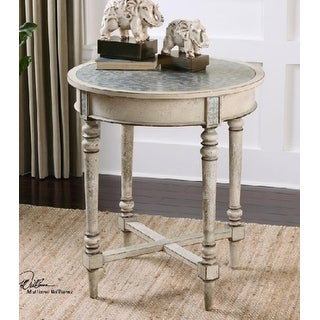 "30.5"" Old Ivory Poplar with Decorative Aluminum Clad Top Round Accent Table"