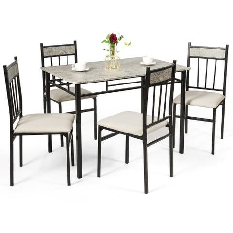 Costway 5 Piece Dining Set Faux Marble Top Table 30'' and 4 Padded