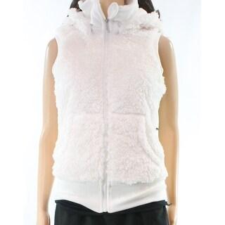 Kensie NEW White Women's Large L Faux Fur Hooded Full-Zip Vest Jacket