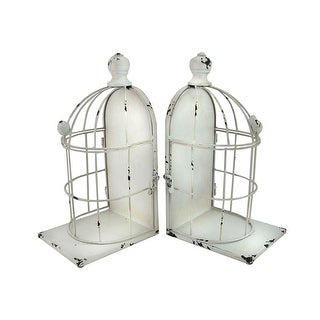 Distressed White Enamel Finish Bird Cage Bookends Set of 2