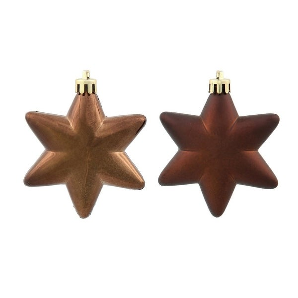 "36ct Matte & Shiny Chocolate Brown Star Shatterproof Christmas Ornaments 1.5""-2"""