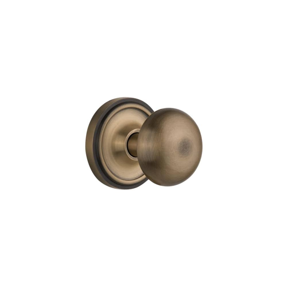 Nostalgic Warehouse CLANYK_PRV_238_NK  New York Solid Brass Privacy Knob Set with Classic Rose and 2-3/8 Backset (Oil-Rubbed Bronze)