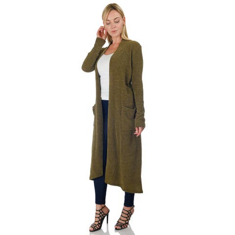 Simply Ravishing Women's Knit Long Sleeve Open Drape Maxi Duster Long Cardigan w/ Pockets (Size: S-5X)