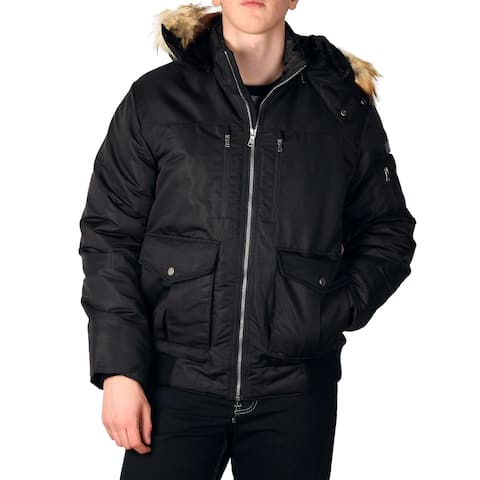 Sean John Men's Hooded Bomber with Faux Fur Trim