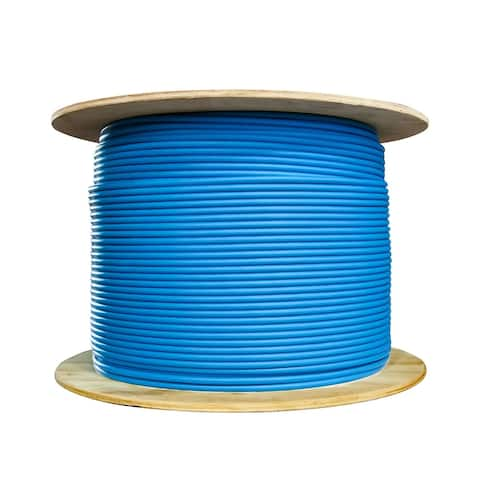 Offex Plenum Cat6 Bulk Cable, Blue, Solid, Shielded, CMP, 23 AWG, Spool, 1000 foot