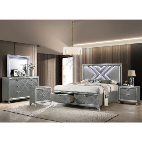 Furniture of America Bel Air Contemporary Silver 5-piece Bedroom Set