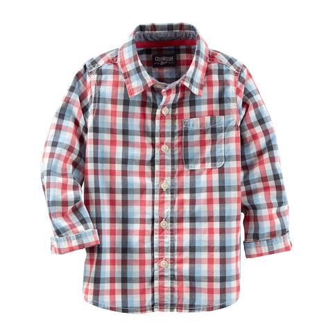 OshKosh B'gosh Little Boys' Woven Buttonfront, Red Plaid, 2T