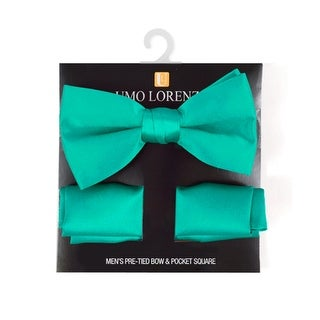 Men's Solid Pre Tied Bow Tie and Hanky Set - One size
