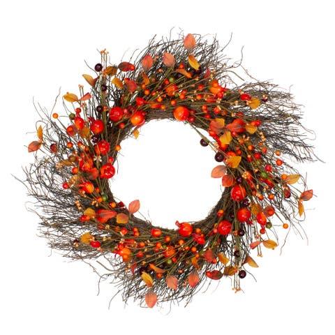Leaves Berries Artificial Fall Harvest Twig Wreath - 24 inch, Unlit