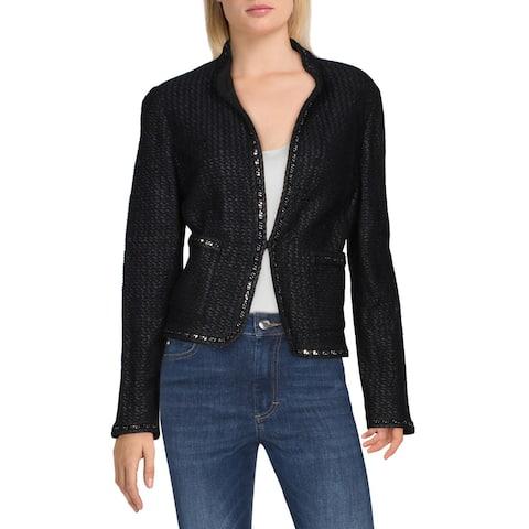 St. John Womens Adina Knit Blazer Tweed Embellished - Caviar
