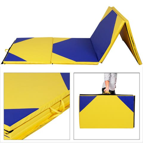 "Costway 4'x10'x2"" Thick Folding Panel Gymnastics Mat Gym Yelloblue"