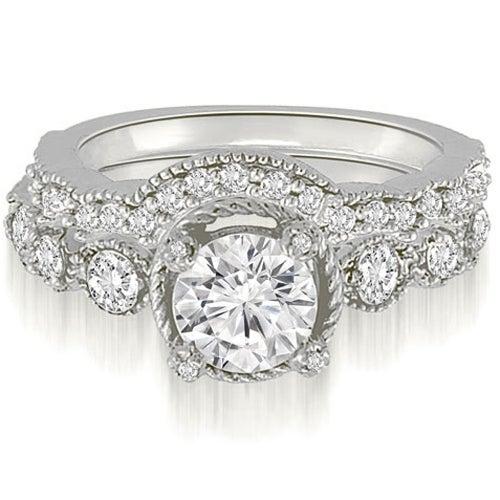 1.80 cttw. 14K White Gold Antique Milgrain Round Cut Diamond Bridal Set