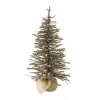 3' Pre-Lit Warsaw Twig Artificial Christmas Tree in Burlap Base - Clear Lights - brown
