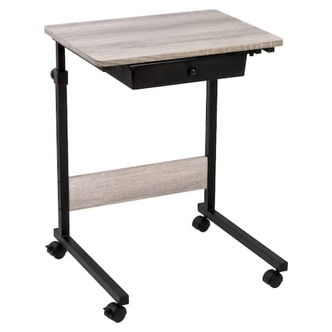 Rolling Table Adj Height, Matte Black with Wood Grain Laminate Top