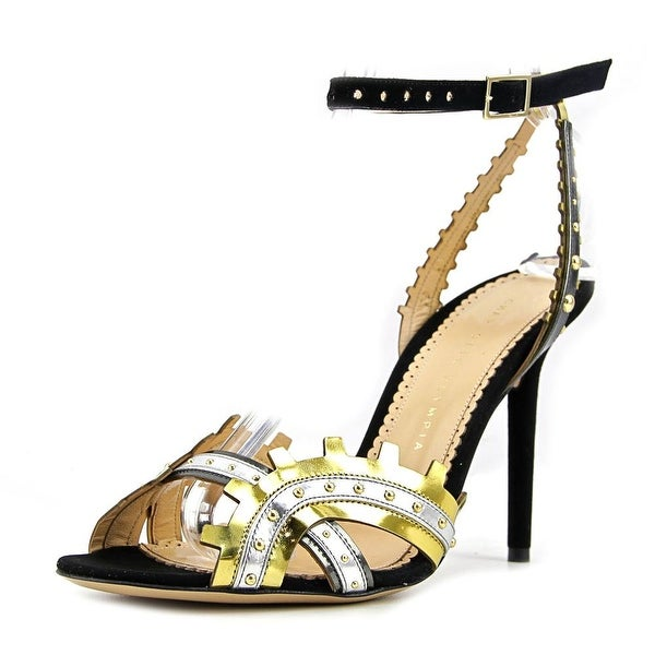 Charlotte Olympia High Gear Pump Women Open Toe Suede Gold Sandals