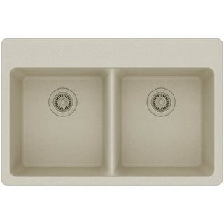 """Elkay ELG3322 Gourmet 33"""" Double Basin Granite Composite Kitchen Sink for Drop In Installations with 50/50 Split and 5"""