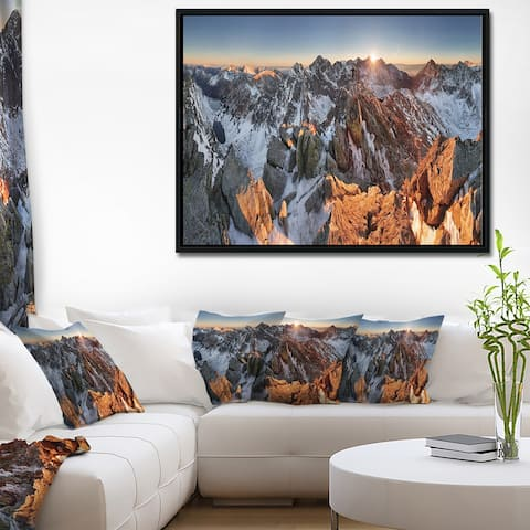 Designart 'Scenery of High Mountain with Lake' Landscape Print Wall Framed Canvas Artwork Print