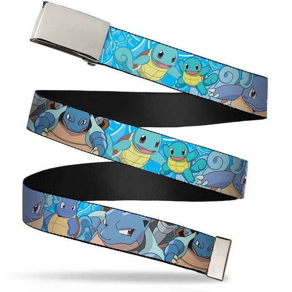 Blank Chrome Buckle Squirtle Evolution Poses Blue Swirl Webbing Web Belt