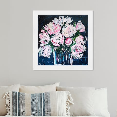 Oliver Gal 'Claire Sower- Peonies by The Bucket' Floral and Botanical Framed Wall Art Prints Florals - Pink, Blue