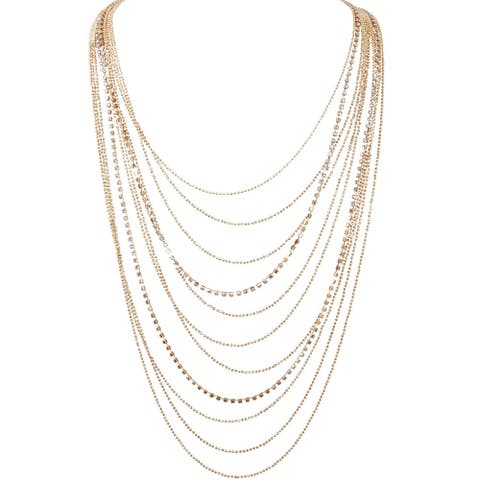 Humble Chic Waterfall Jewel Long Necklace Multi-Strand Statement CZ Rhinestone Chains