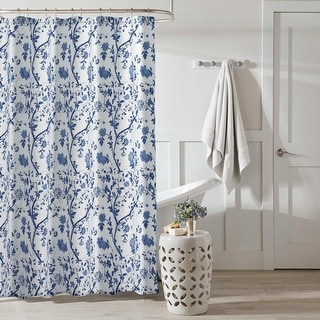 Laura Ashley Charlotte Blue Floral Shower Curtain (72 x 72)