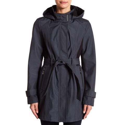 Sebby Belted Windproof Softshell Raincoat,Grey/Black, Large