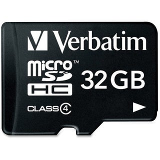 Verbatim 97643 Verbatim 32GB MicroSDHC Memory Card with Adapter, Class 4 - Class 4 - 1 Card/1 Pack